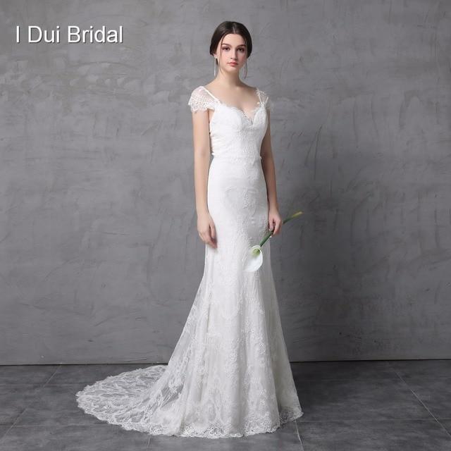 Sheath Lace Wedding Dress Real Photo Cap Sleeve Bow Tie V Back High Quality