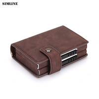 SIMLINE New RFID Blocking   Wallet   Men Metal Aluminium Double Box Pop Up Credit Card Box Case Holder Slim Mini Smart   Wallets   Male