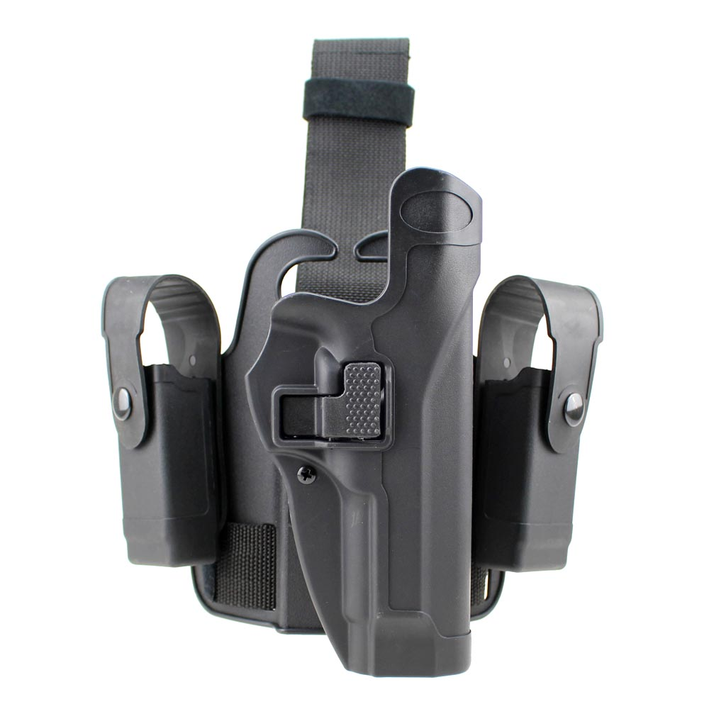 Tactical M92 Leg Holster Right Hand Paddle Drop Thigh Gun Holster with Snap Button Magazine Torch Pouch for Beretta M9 M92
