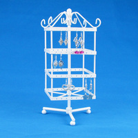 Wholesale High Quality White Rotating Metal Earring Display Stand Holder Rack For 128 Holes