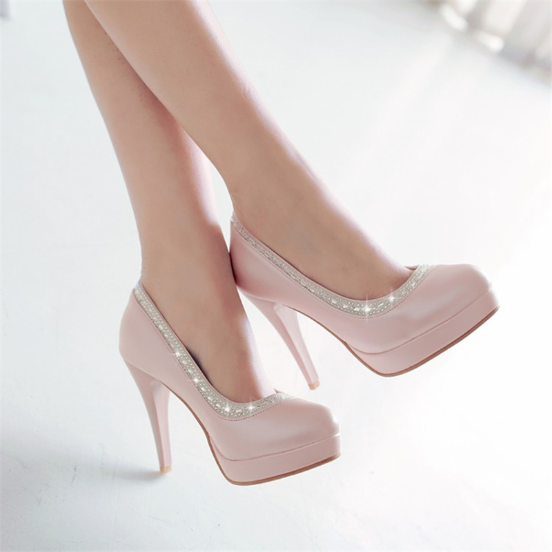 SARAIRIS Ins 2019 Sexy Big Size 43 High Heels Wedding Women's Shoes Woman Platform Slip On Crystale Date Party Pumps Shoes