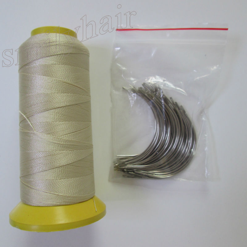 Free-shipping-50pcs-9-0cm-big-length-C-type-Curved-needles-and-1-roll-blonde-color