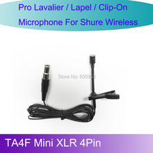 Pro MICWL L4P New Tie Lavalier Lapel Microphone for Shure Wireless belt pack TA4F Mini XLR 4Pin