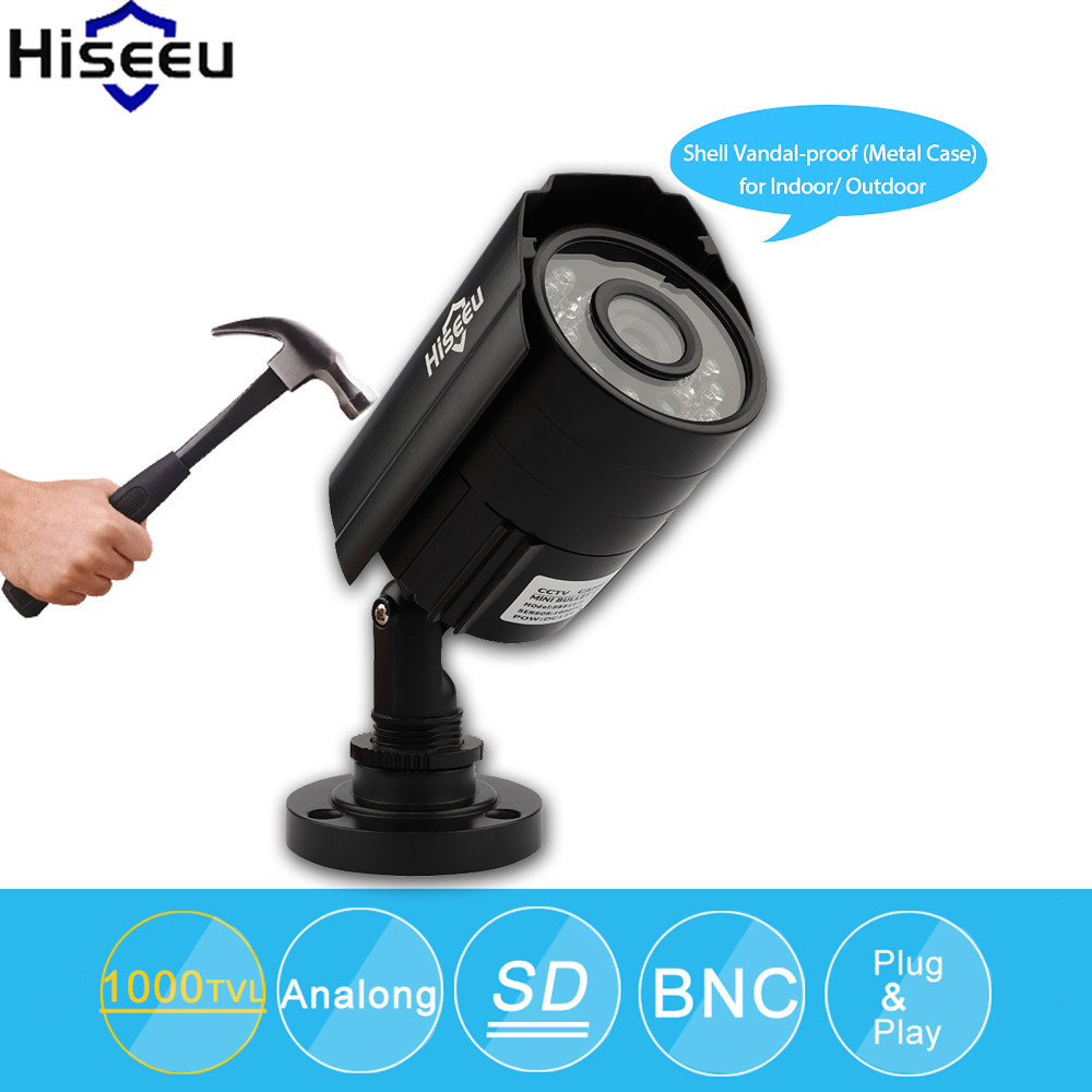 Hiseeu Analog Camera Mini CCTV Camera 1000TVL Day/Night Vision Bullet Camera For CCTV System Metal Case Waterproof Baby Monitor