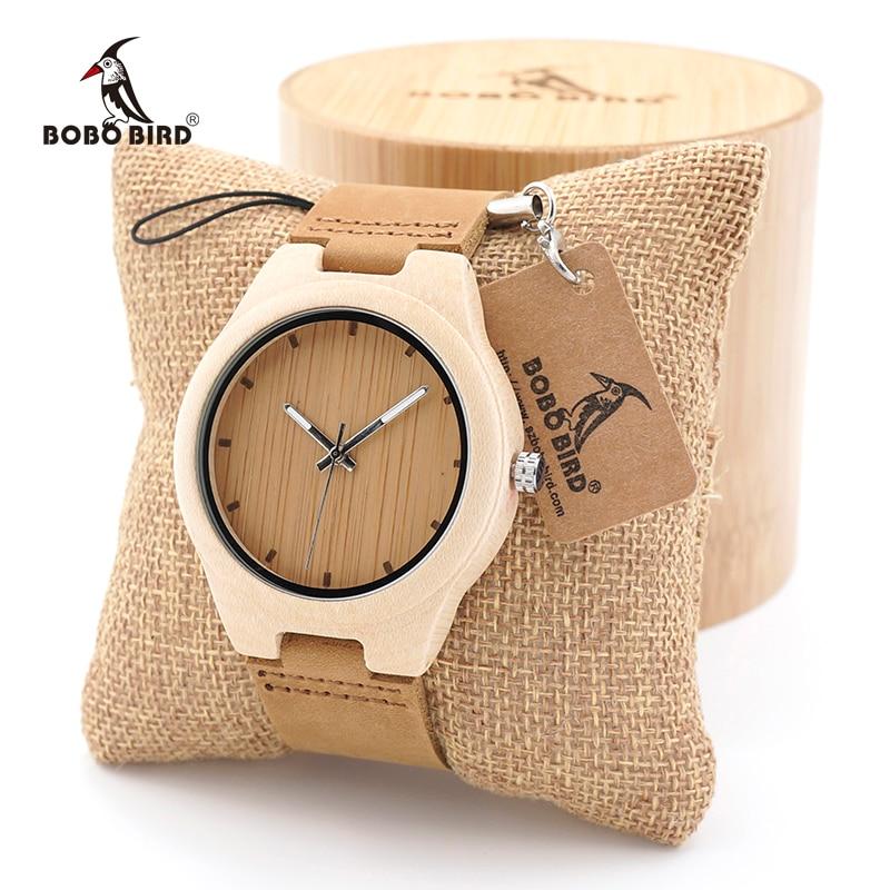 все цены на BOBO BIRD Women Watch Men Minimalist Design Maple Wooden Watch Ladies Mens Luxury Brand Timepiece Leather Strap in Gift Box