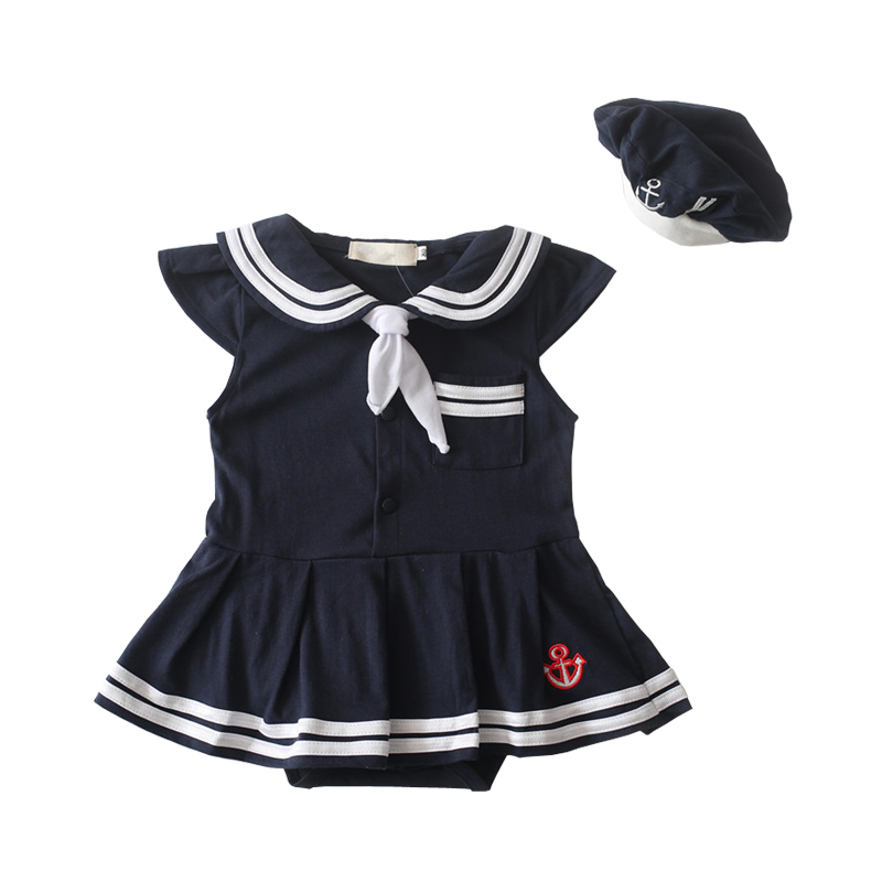 NewBorn-Baby-Dress-Summer-Cotton-Bow-Baby-Rompers-for-girls-Kids-Scarf-Navy-Overall-Bebes-Sailor-Style-Jumpsuit-baby-cloth-baby-1