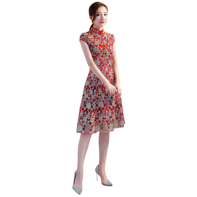 High Quality Elegant Red Lace QiPao Chinese National Vietnam Ao Dai Dress Lady s Short Sleeve