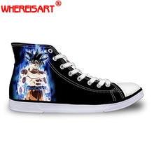 WHEREISART Fashion Anime Dragon Ball Z Print Mens High-top Vulcanized Shoes  Cool Super Saiyan Son Goku Canvas Shoes for Men Boy aff6b7003