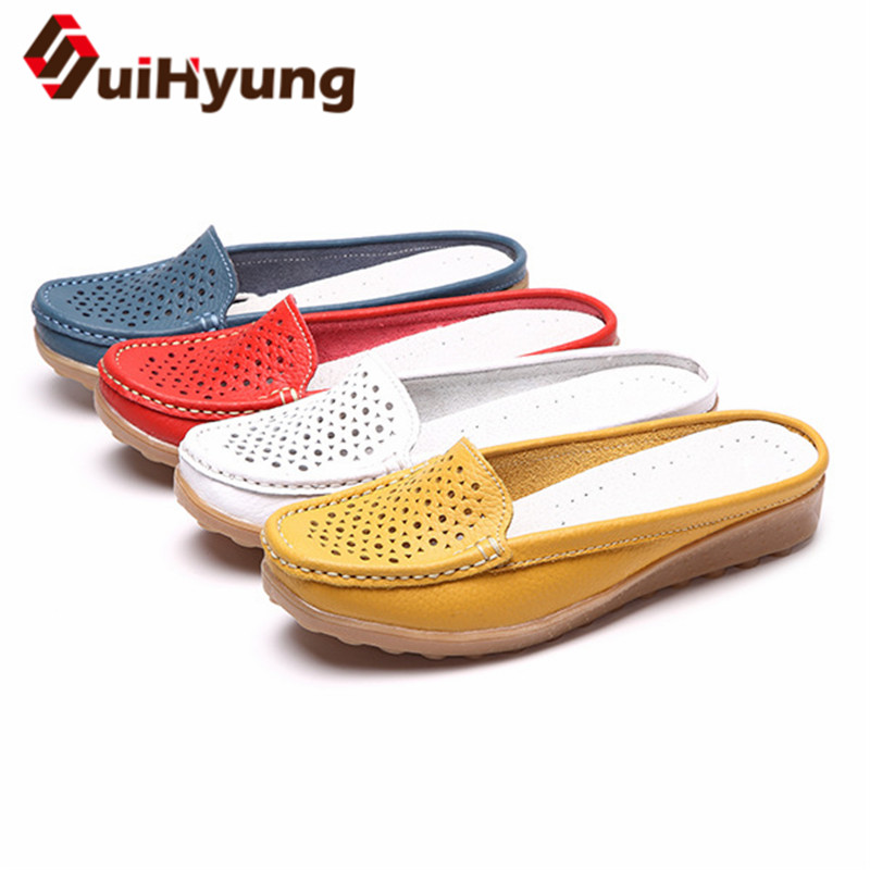 Suihyung Summer Women Slippers Flip Flops Casual Outside Sandals Breathable PU Hole Shoes Ladies Summer Flats Home Indoor Shoes mnixuan women slippers sandals summer