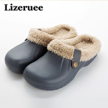 цена на Winter Warm Slippers Men Indoor Shoes Cotton Pantoffels Casual Crocus Clogs With Fur Fleece Lining House Floor Slippers KS250