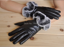 DL2005  Colorfur Genuine Sheep Leather Gloves Women Winter Retail Wholesale Real Glones Free Shipping