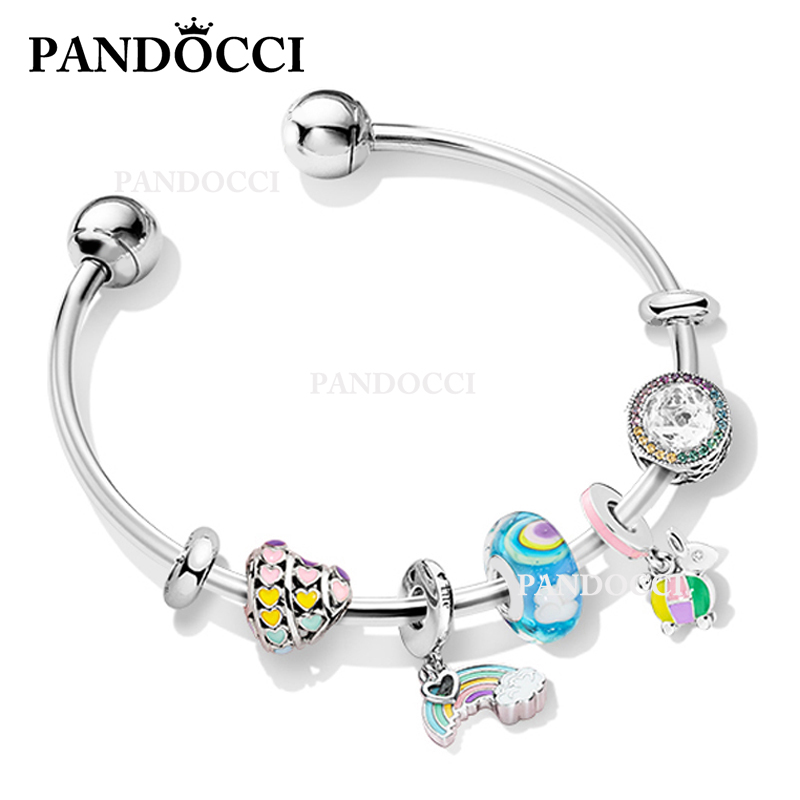 be3c400752515 PANDOCCI 100% 925 Sterling Silver Star Dream Childlike ZT0179 Bracelet Gift  Set Colorful Rainbow Women Gift Jewelry Recommended