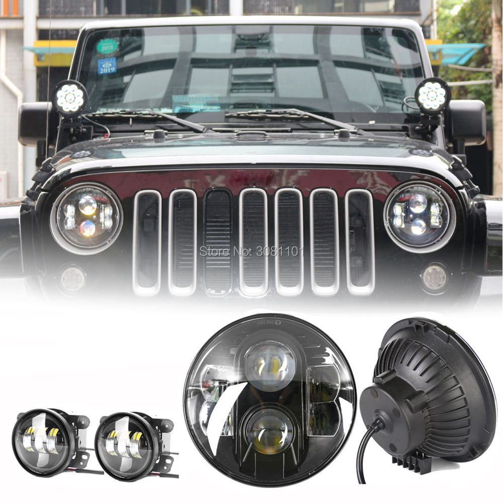 7 LED Projector Headlight Hi-low beam for jeep Auto lamp Lighting Light +4 round Fog lamp for 2011 grand Cherokee overland WK2 akpo light wk 7 50 нержавейка
