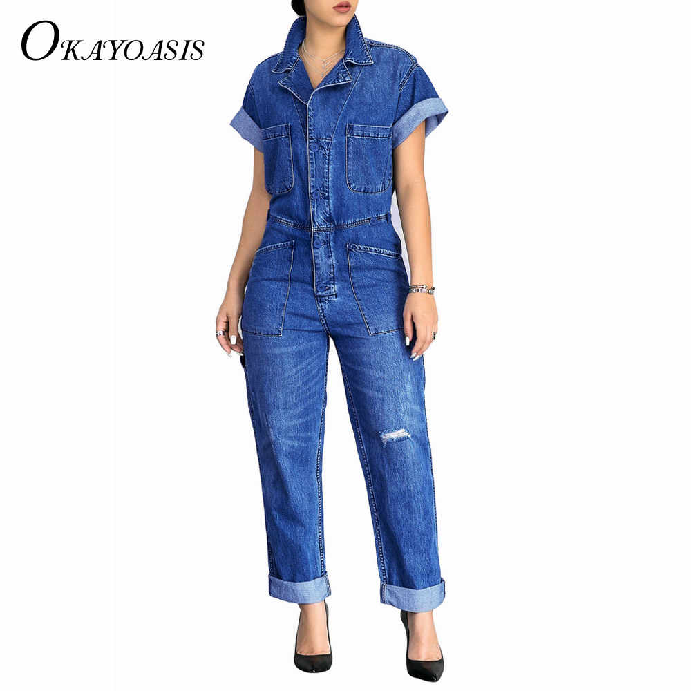 5b849f03d76 ... OKAYOASIS 2018 Fashion Women s Casual Loose Summer Short Sleeve Denim Overalls  Large Size Pockets Jeans Jumpsuits ...