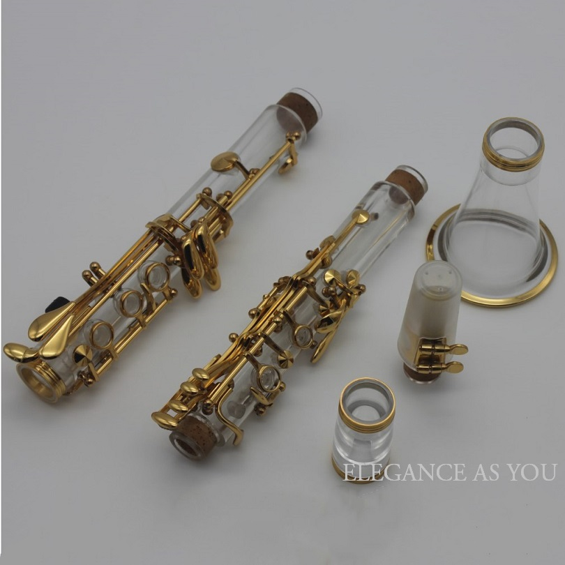 Transparent crystal 17key clarinet in Bb clear crystal pink Bb clarinet single reed wind instrument nickel silver gold clarinet