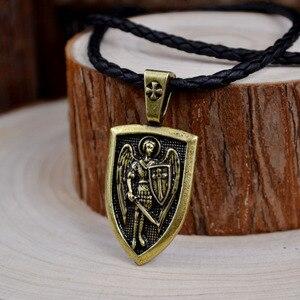 Мужское ожерелье, ожерелье с подвеской Archangel St. Michael Protect Me Saint Shield