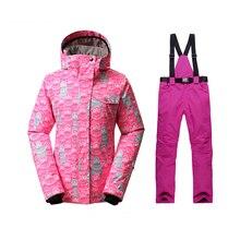 Зимний лыжный костюм женская зимняя куртка+ лыжные ветрозащитные водонепроницаемые брюки лыжный костюм Одежда для альпинистов женская одежда