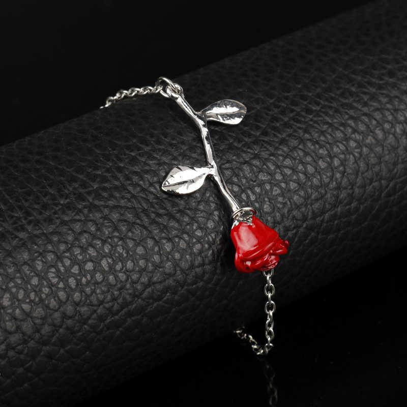 Moda filme charme pulseira jóias beauty beast nunca seco rosa flor pulseira amante presente do dia dos namorados