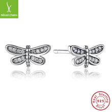 Actual 925 Sterling Silver Petite Dragonfly Stud Earrings For Ladies Suitable with WOS Jewellery Genuine Style Present