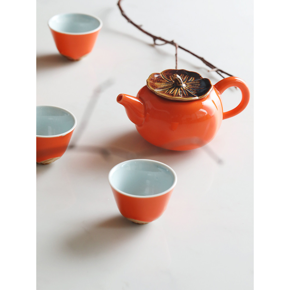 5pcs ceramic teaware set retro under glazed persimmon sharp 4 cup 1 teapot new year gifts with gift box orange drinkware5pcs ceramic teaware set retro under glazed persimmon sharp 4 cup 1 teapot new year gifts with gift box orange drinkware