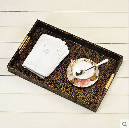 40x25cm rectangle leather serving storage decorative tray ...