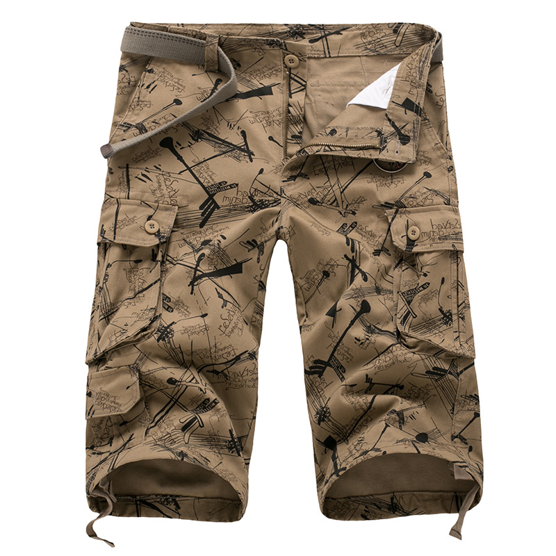 New Men's Camo Cropped Pants Summer Designer Multi-pocket Pure Cotton Male Casual Calf Length Pant Men Plus Size Trousers AF109(China)