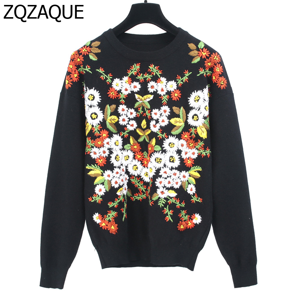 Vintage Daisies Embroidey Luxury Womens Knit Pullover Tops Long Sleeve O-neck High-grade Ladys Black Color Winter Cloth SY1457