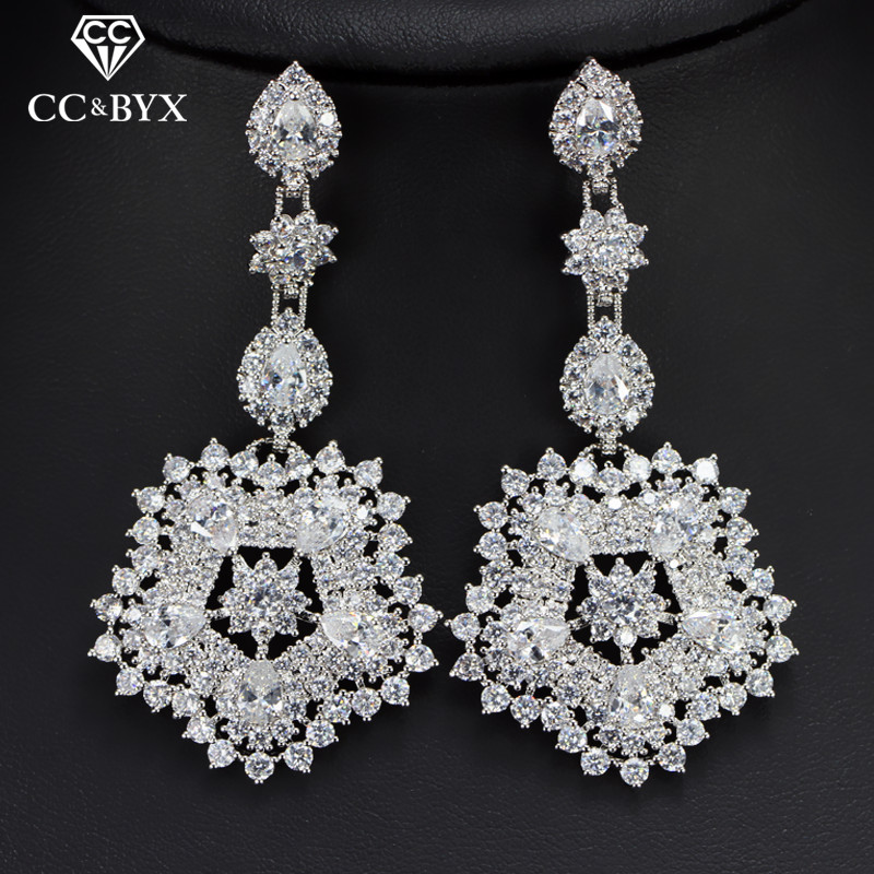 CC earrings for women luxury flowers shape crystal beads wedding accessories bride engagement shine cz jewelry romantic E0113