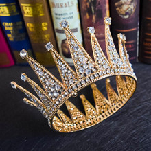 Crystal Royal Queen King Bridal Tiara Crown Pria/Wanita Kontes Prom Hiasan Rambut Pengantin Pernikahan Hiasan Kepala Rambut Perhiasan Aksesoris(China)