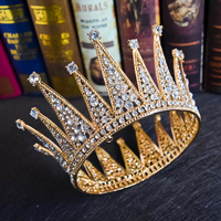 Crystal Royal Queen King Bridal Tiara Crown Men/Women Pageant Prom Hair Ornaments Bride Headpiece Wedding Hair Jewelry Accessory