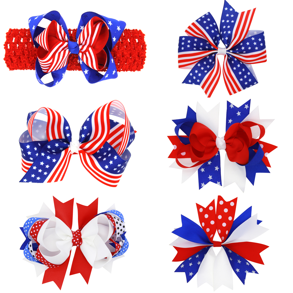 Newborn Big Bow Knot America bow hairpin Kids Cotton hairpins headband clips bows hair clip Accessories Fourth of July HC084 popular in europe and america children wear hair knotted cotton big bow tie children hair baby hair headband