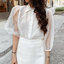 WHOSONG 2019 Sexy Perspective Lace Blouse Shirt Elegant Latern Half Sleeve Summer Blusa Tops Casual Ladies White