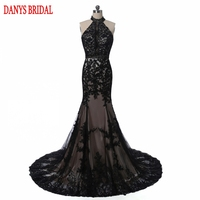 Elegant Black Lace Evening Dresses Mermaid Turkish Party Halter Tulle Women Ladies Prom Formal Evening Gown