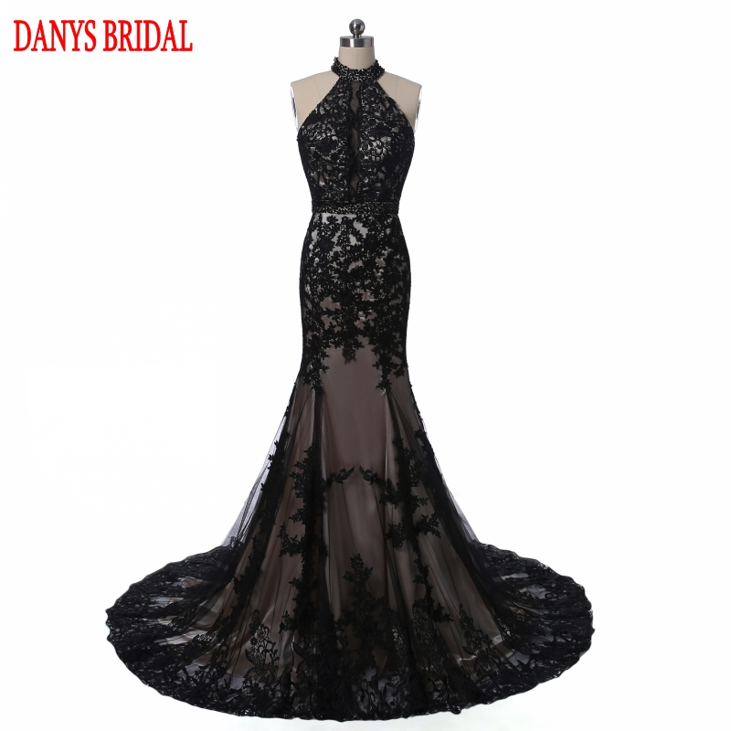 Elegant Black Lace Evening Dresses Mermaid Long Party Halter Tulle - Gaun acara khas - Foto 1