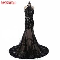 Elegant Black Lace Evening Dresses Mermaid Turkish Party Halter Tulle Women Ladies Prom Formal Evening Gown