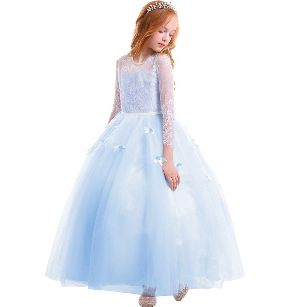 2019 Vintage Flower Girls Wedding Bridesmaid Dress for Kids Butterfly Tulle  Lace Long Dress Elegant Princess Party Girls Dress 12abc48b96ab