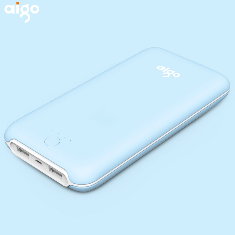 Aigo Slim 10000 mAh Power Bank, Portable Ultra-thin Polymer Powerbank battery quick charge power bank 10000mah External Battery