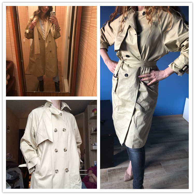 Russian autumn winter casual loose trench coat with sashes oversize Double Breasted Vintage overcoats windbreaker outwear 4