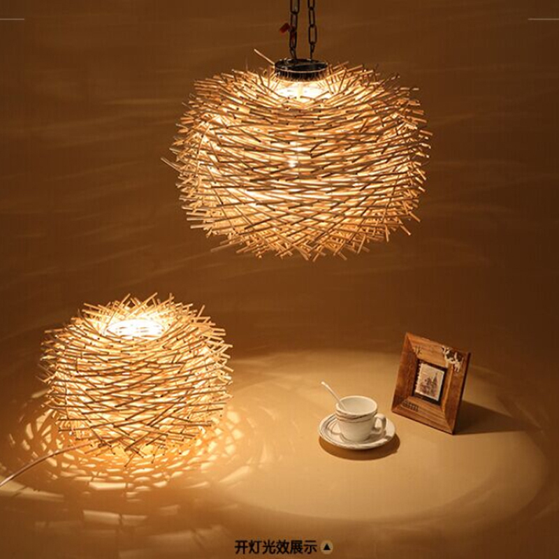 Nordic Creative Wood Pendant Light 220v E27 Handmade Suspension Light Bird Nest Shape Hanging Lamp Incandescent Bulbs Lighting
