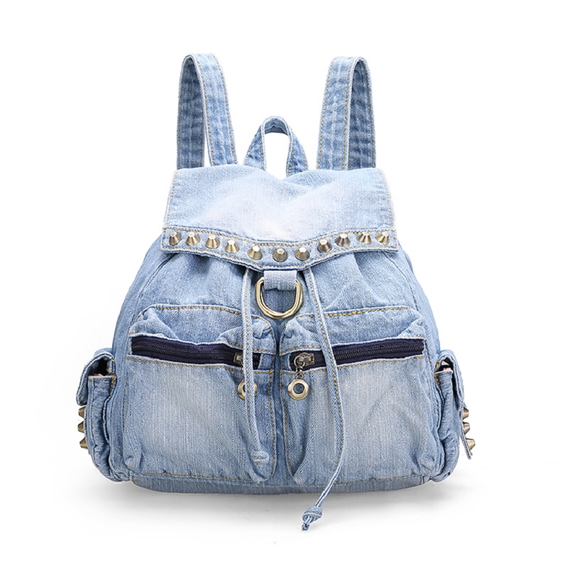 ФОТО New Vintage Fashion Casual String Hasp Rivet Denim Backpacks Bags Jeans Girl's Women Daypacks School Bag