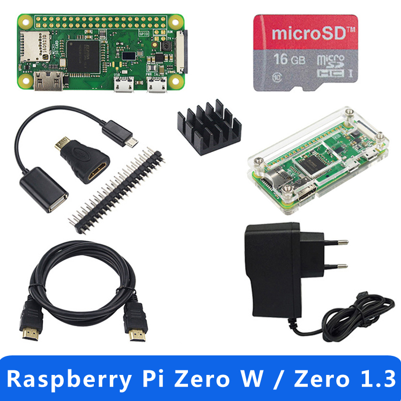 Hot Sale Raspberry Pi Zero 1.3 Or Raspberry Pi Zero W Starter Kit+Acrylic Case+GPIO Header+Heat Sink 1GHz CPU 512Mb RAM RPI 0/W