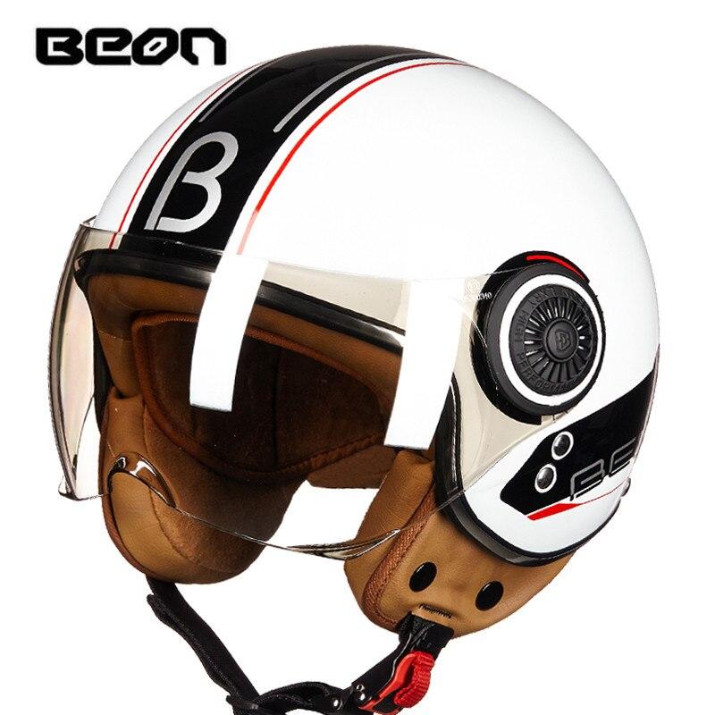 Mens BEON motorcycle helmet Womens Vintage scooter open face helmet Retro E-bike 3/4 helmet ECE approved moto casco