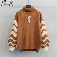 PEONFLY Pullover Winter Sweaters Women Loose Style Oversized Turtleneck Long Sleeve Soft Warm Thick Casual Jumper