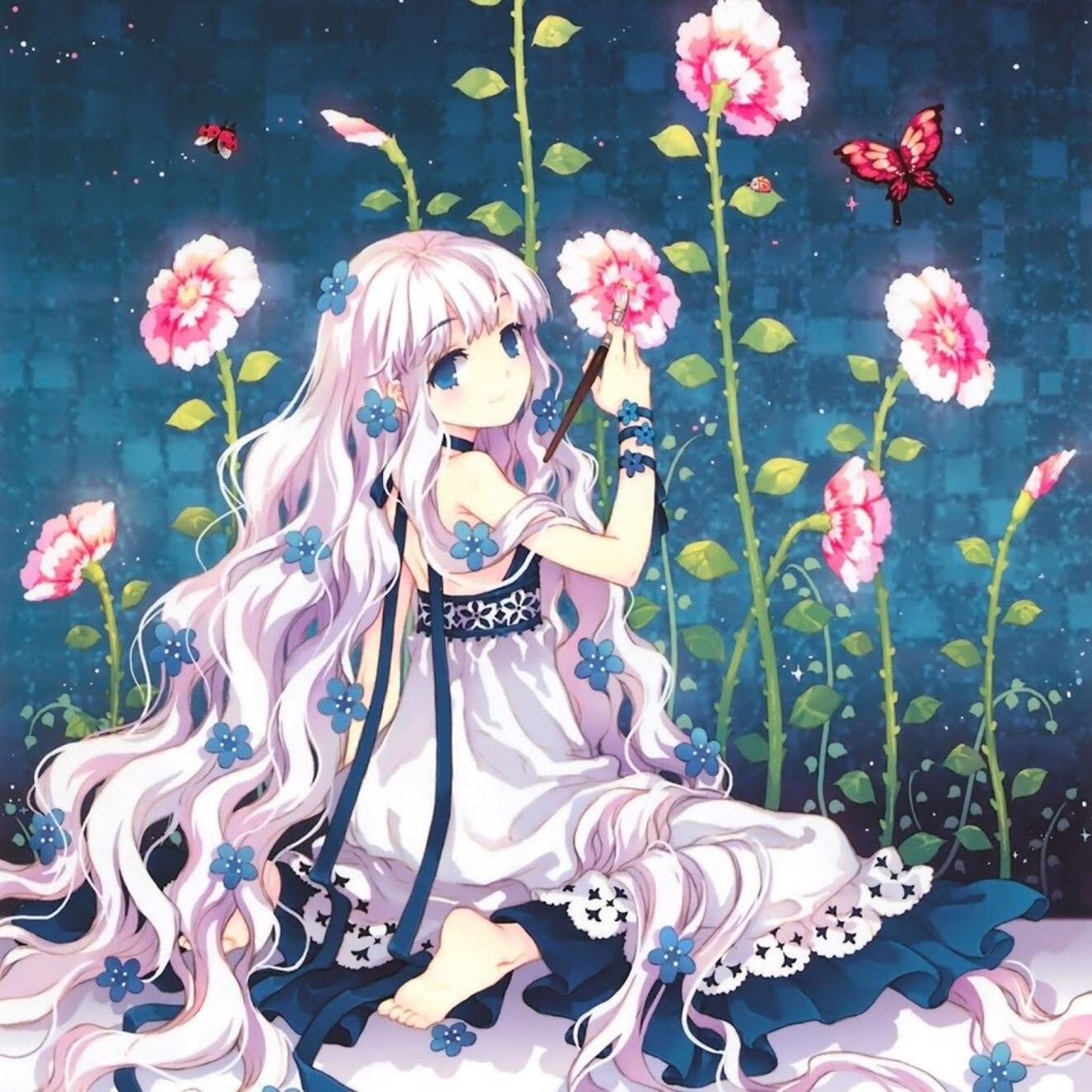 anime girls flower