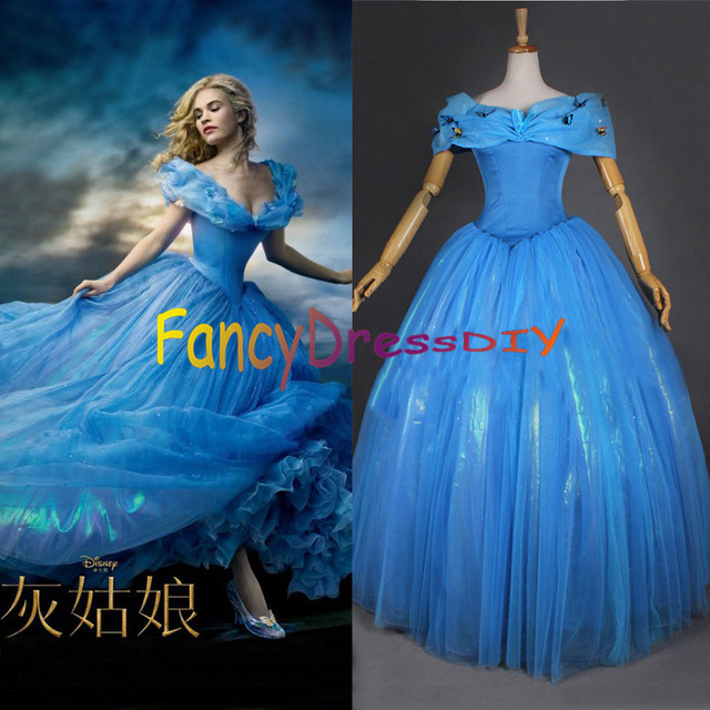 2015 Movie Cinderella Princess Party Dress Adult Women Deluxe Blue Wedding Costume Plus Size