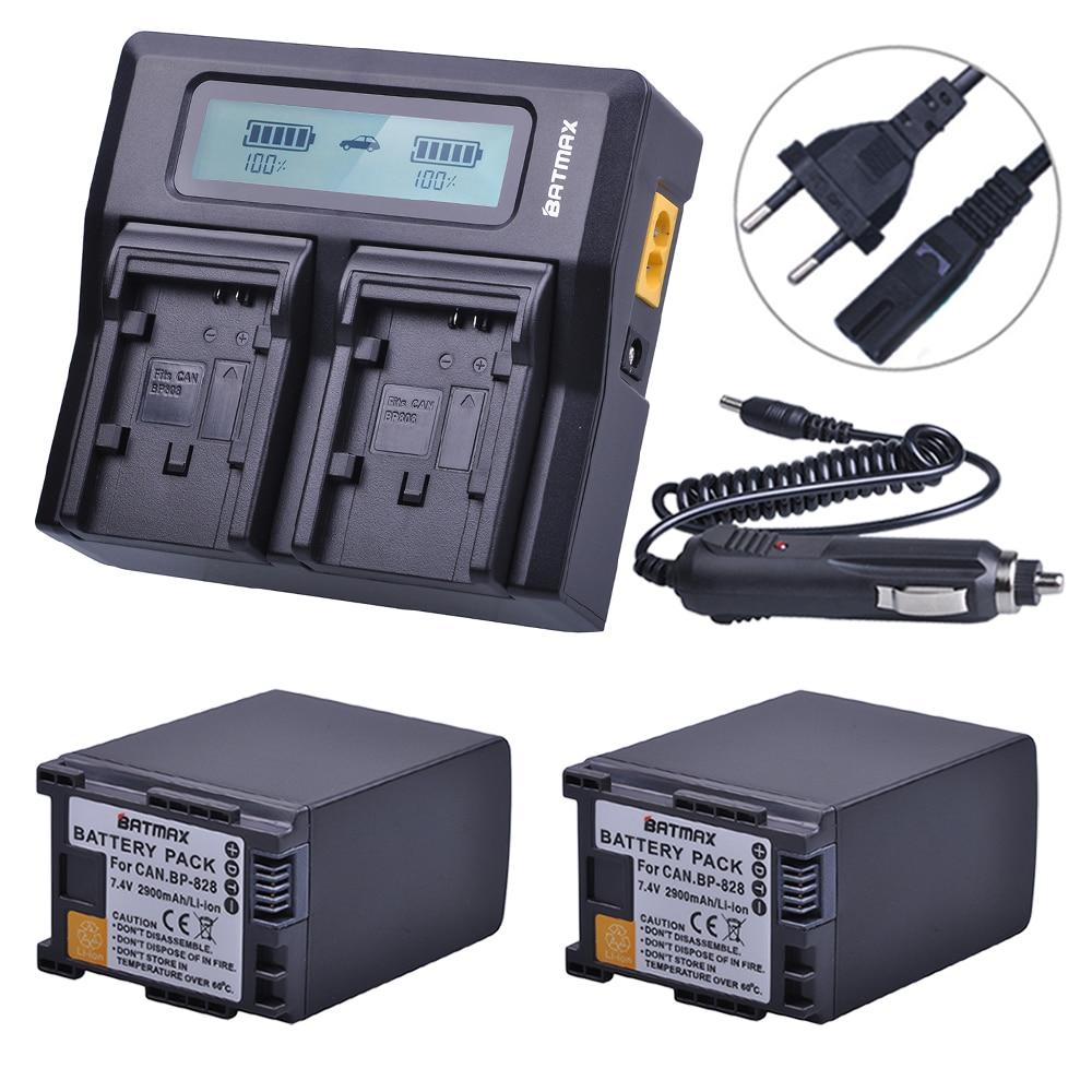 2 Pz 2900 mAh BP828 BP 828 Batterie Della Macchina Fotografica + Rapid LCD Caricabatterie Doppio per Canon LEGRIA BP-820 iVIS LEGRIA HF G30 G40 XA20 XA25 XA35