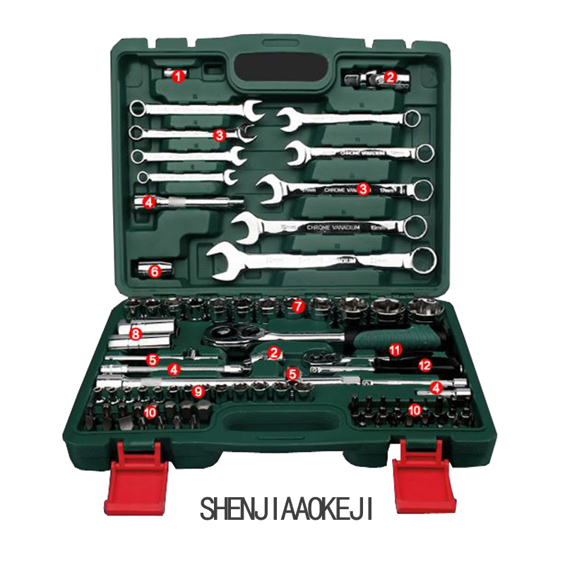 spanners ratchet wrench Ratchet wrench set flexible ratchet wrench combination car repair tool Special package  hardware toolbox yofe combination wrench canvas bag 6pcs set spanner wrench a set of key ratchet skate tool gear ring wrench ratchet handle tools