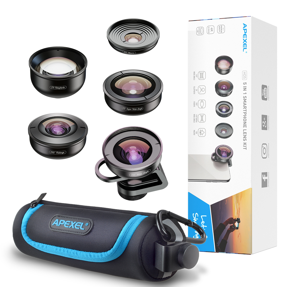 APEXEL 5 in 1 Phone Camera Lens Kit Professional HD Fisheye Super Wide Angle Macro Lens for Xiaomi Redmi Note 5 Pro iPhone X 7S