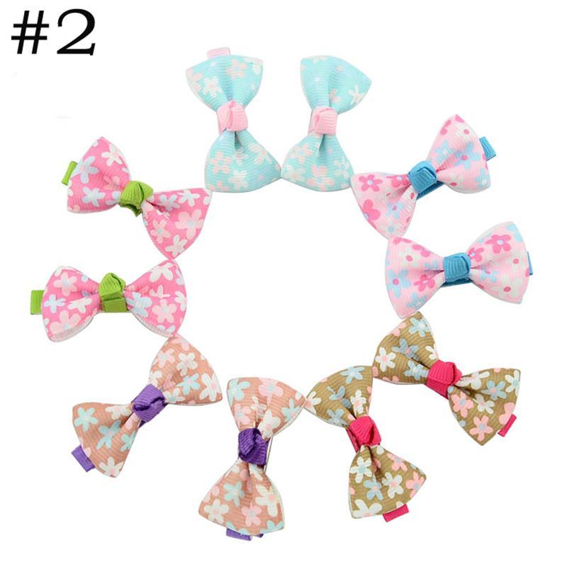 HTB1EdQAPVXXXXXEapXXq6xXFXXXZ Trendy Girls Candy Color Dot Flower Print Ribbon Bow Hair Clips - 7 Styles