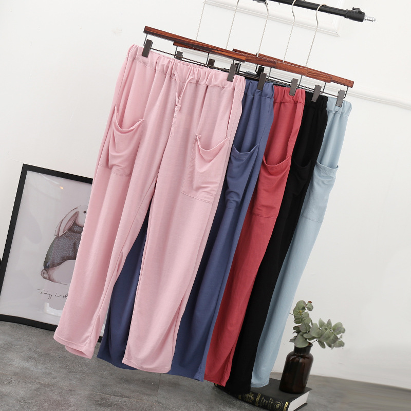 Womens Spring Summer Harem Pants Cotton Linen Solid Elastic waist Candy Colors Trousers Soft high quality for Female ladys
